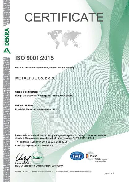 ISO 9001:2015 cerfificate